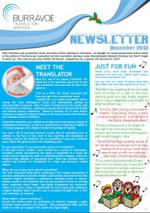 Burravoe Translation Services' Festive Newsletter